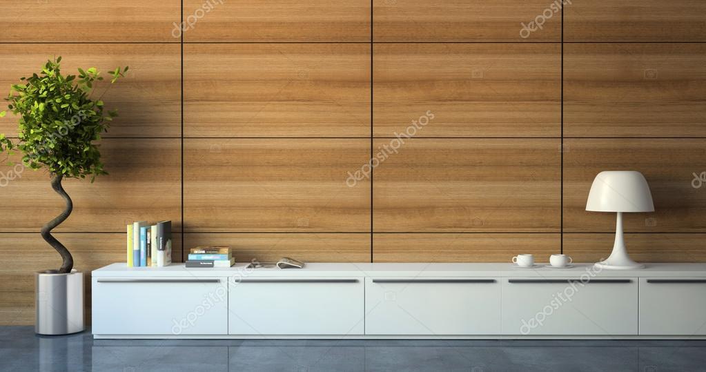 Pareti In Legno Moderne : Parte di interni moderni con parete in legno u foto stock