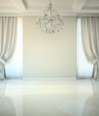 Empty room in classic style with crystal chandelier