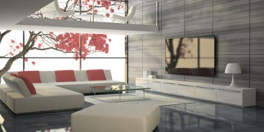 Modern interior with white sofas and pink tree