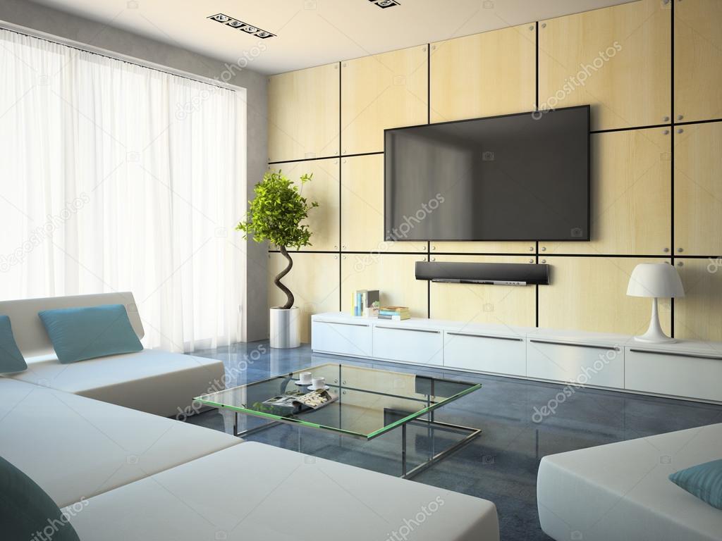 Divani Bianchi Moderni : Arredamento moderno con divani bianchi e lampada u foto stock