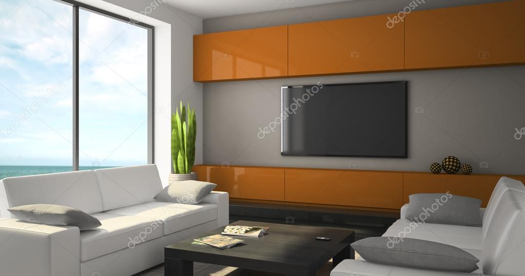 Divani Bianchi Moderni : Interni moderni con divani bianchi e vista mare u foto stock