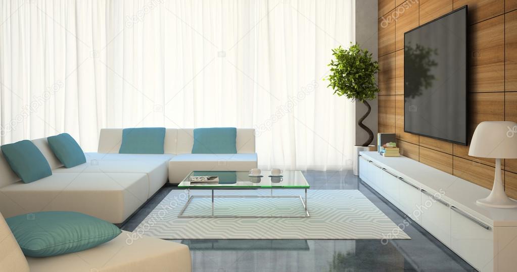 Divani Bianchi Moderni : Interni moderni con tv e divani bianchi u foto stock hemul