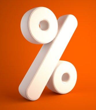 Percent symbol of cloth on orange background