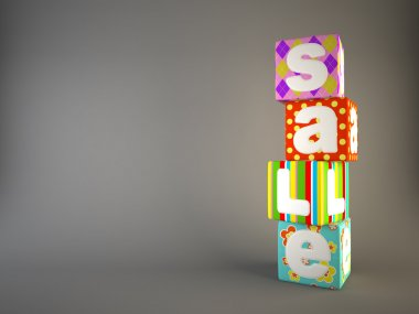 Sale word on colorful fabric cubes 4