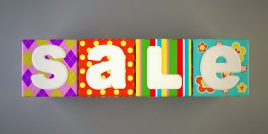 Sale word on colorful fabric cubes 3