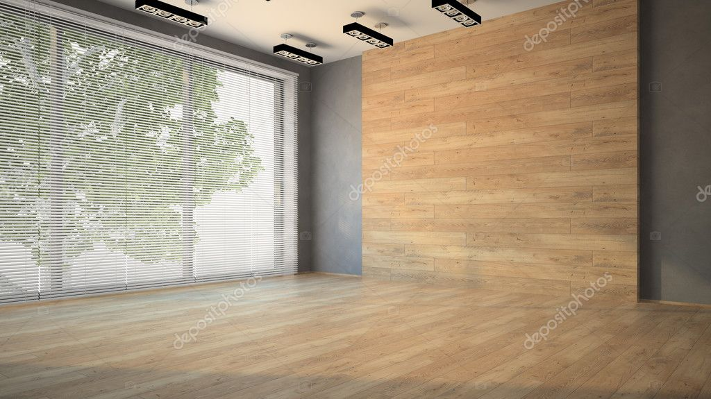 Empty room with wooden  wall 3D