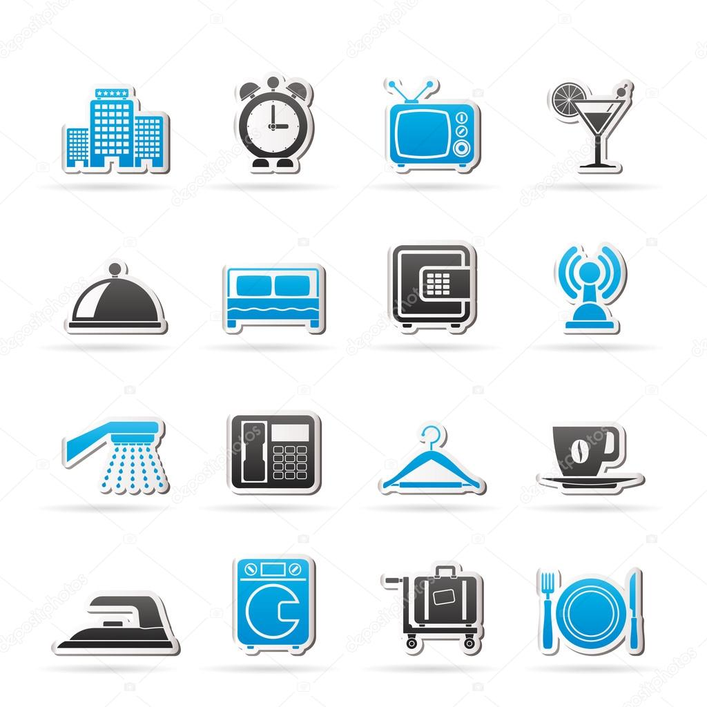 Hotel, motel and travel icons