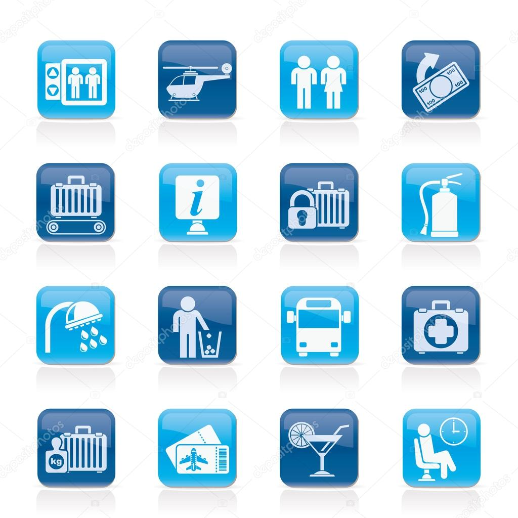 Airport, travel and transportation icons