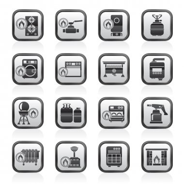 Household Gas Appliances icons - vector icon set clip art vector