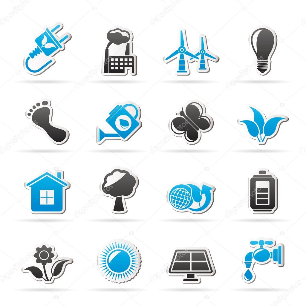 Green, Ecology and environment icons
