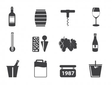 Silhouette Wine and drink Icons - Vector Icon Set stock vector