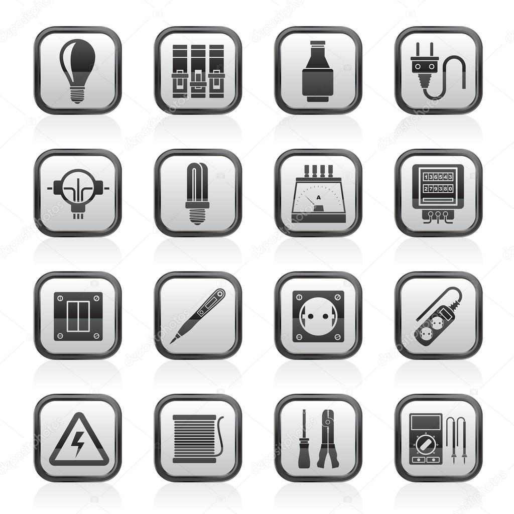 Tractor Parts Icon : Electrical devices and equipment icons — stock vector
