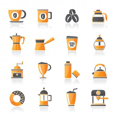 Different types of coffee industry icons