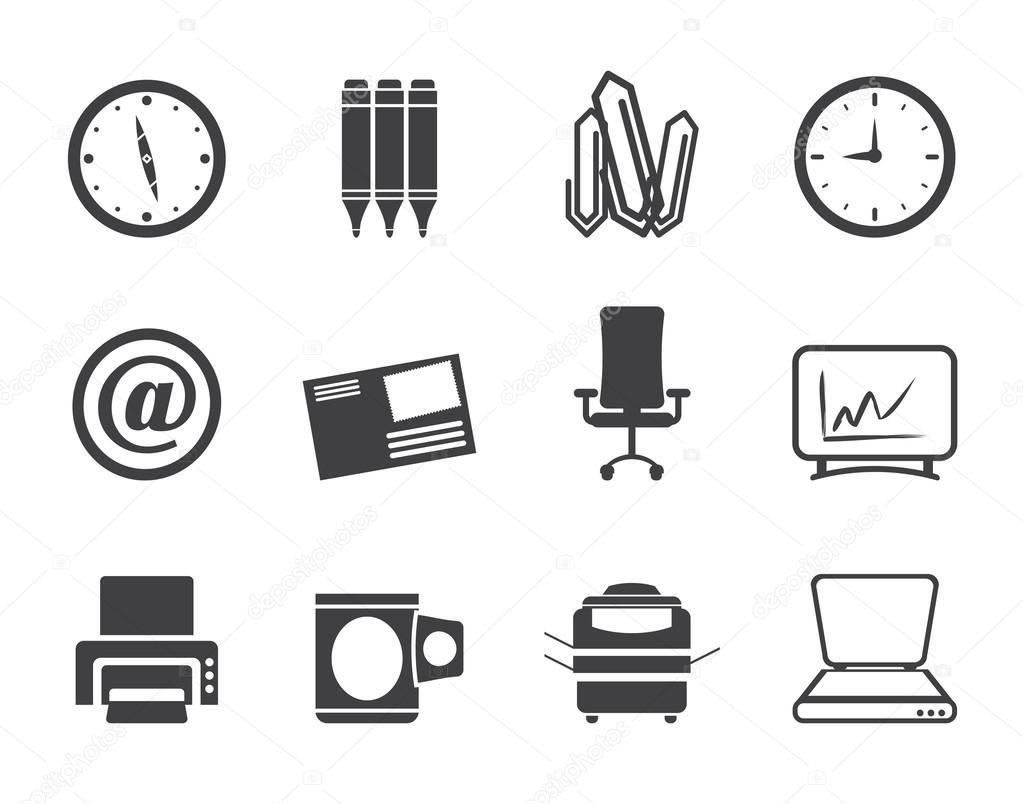 ic nes d 39 outils commerciaux et de bureau silhouette image vectorielle stoyanh 37684119. Black Bedroom Furniture Sets. Home Design Ideas