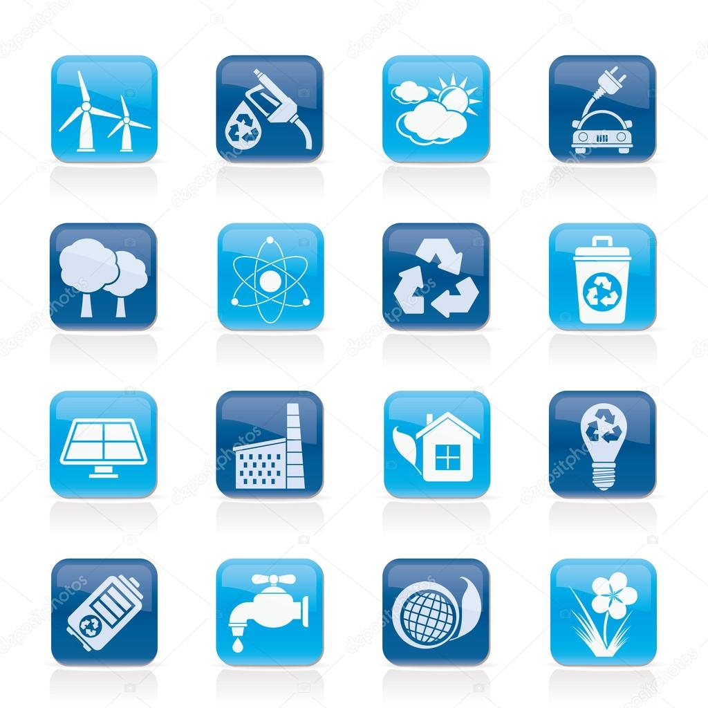 Ecology, environment and recycling icons