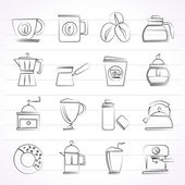 Photo Different types of coffee industry icons