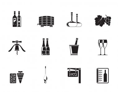 Silhouette Wine and drink Icons - Vector Icon Set clip art vector