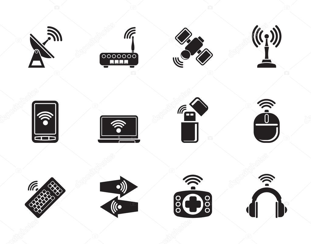 Silhouette drahtlose und Kommunikation Technologie Symbole ...