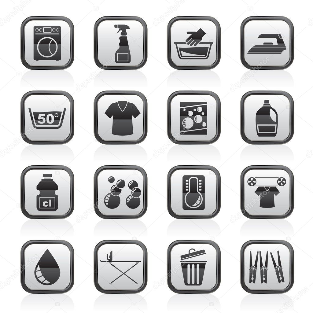 waschmaschine und w sche symbole stockvektor stoyanh 45064019. Black Bedroom Furniture Sets. Home Design Ideas