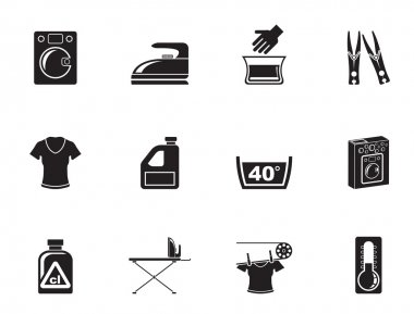 Silhouette Washing machine and laundry icons - vector illustration clip art vector