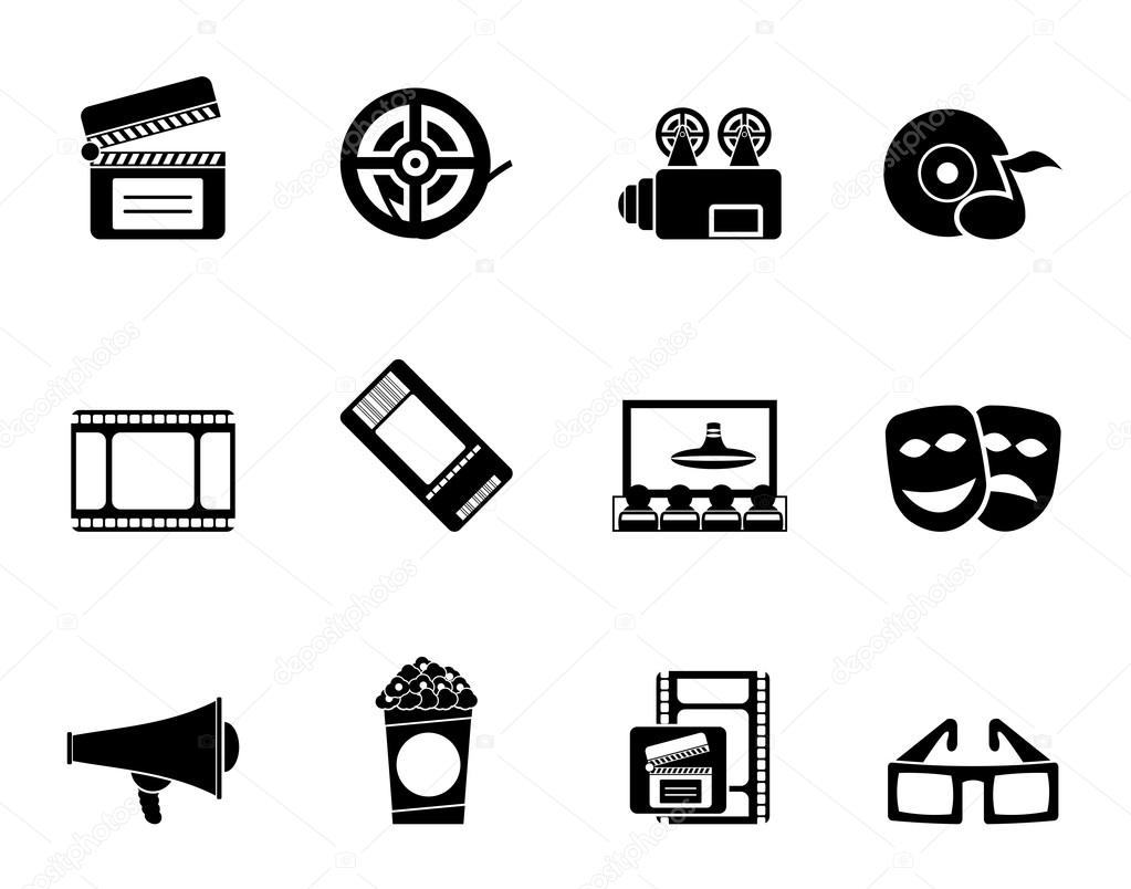 Silhouette Movie theatre and cinema icons - vector icon set stock vector