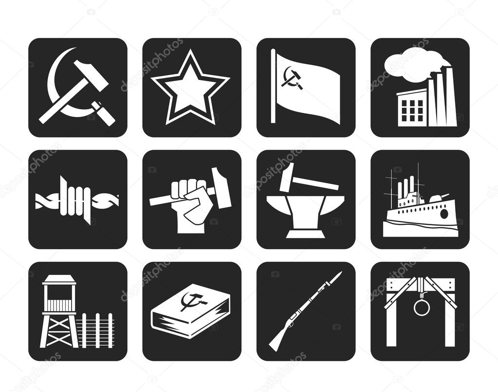 Silhouette Communism, socialism and revolution icons