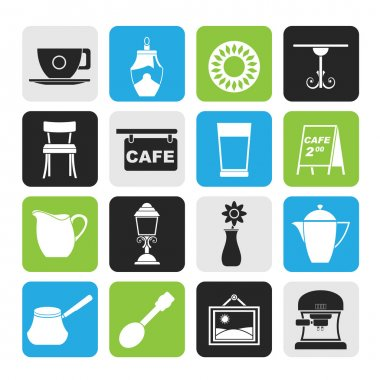 Silhouette Cafe and coffee house icons