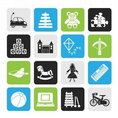 Silhouette different kind of toys icons
