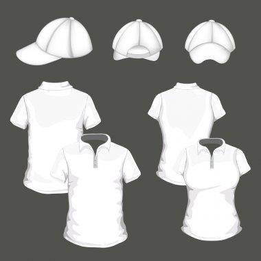 Vector polo shirt and design template and baseball cap stock vector