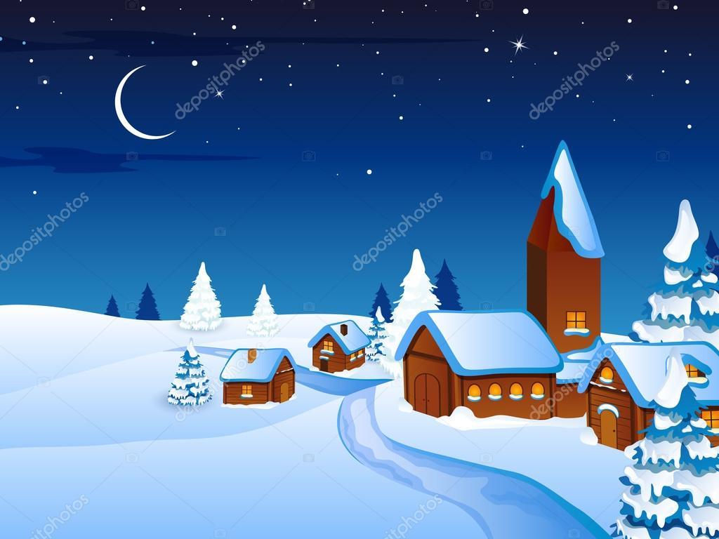 Winter scene - christmas card — Stock Vector © ramonakaulitzki #14574085