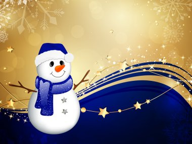 Vector Illustration of a Christmas Background with a Small Snowman stock vector