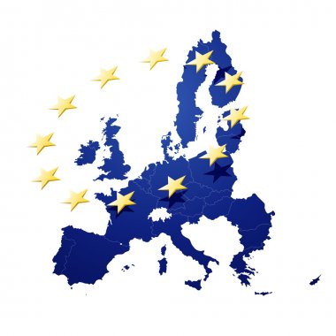 Vector Illustration of a map of European union and EU flag illustration stock vector