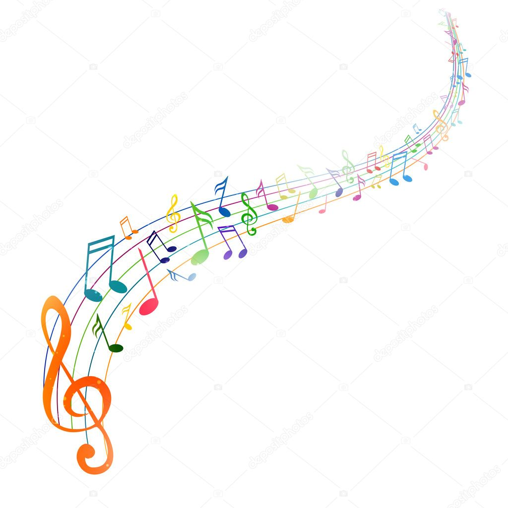 colorful music notes stock vector ramonakaulitzki 22500567 rh depositphotos com Music Notes SVG Music Notes Background