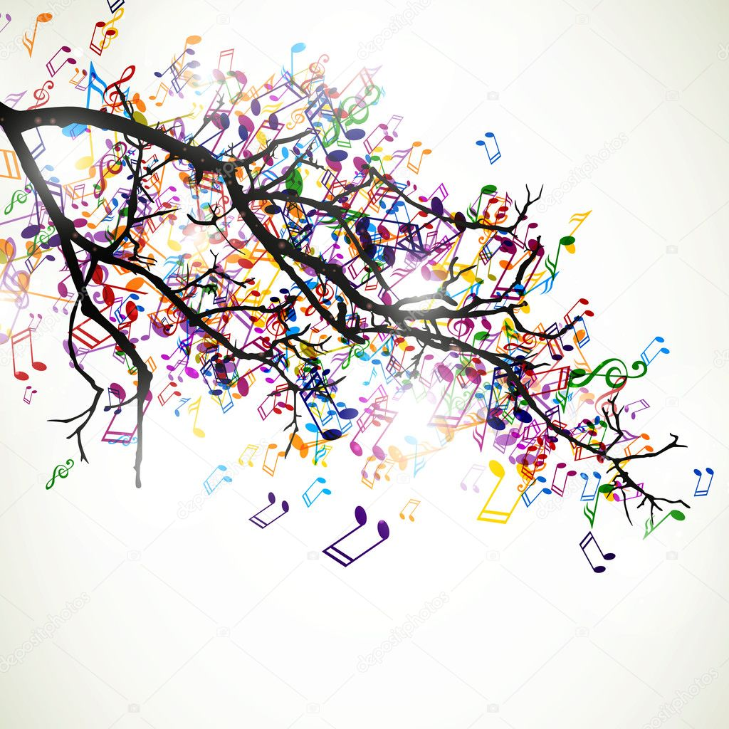 branch with colorful music notes