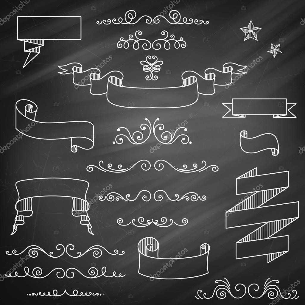 vintage chalkboard elements stock vector ramonakaulitzki 26729011