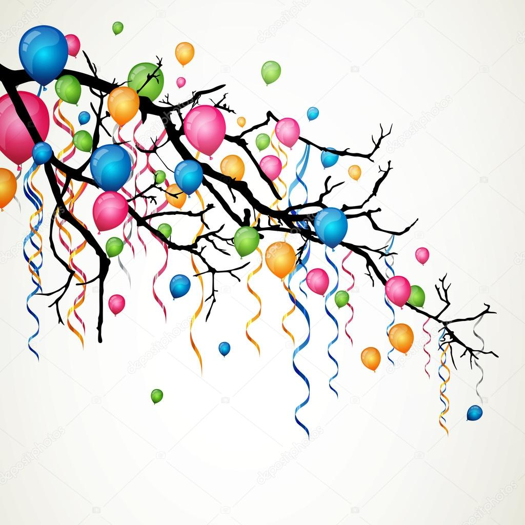 Branch with balloons