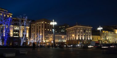 Trees illuminated to Christmas and New Year holidays at night in Moscow, Russia