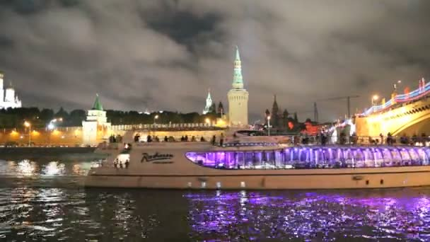 Night view of the Kremlin and Moscow River, Russia, Moscow