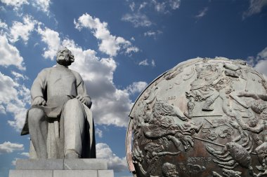 Konstantin Tsiolkovsky Monument, the precursor of astronautics, and Celestial globes-- near Monument of Sovjet space flight, Moscow, Russia