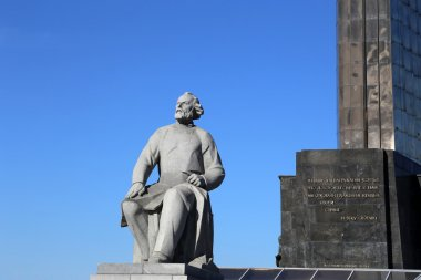 Monument to the Conquerors of Space and statue of Konstantin Tsiolkovsky, the precursor of astronautics, in Moscow, Russia