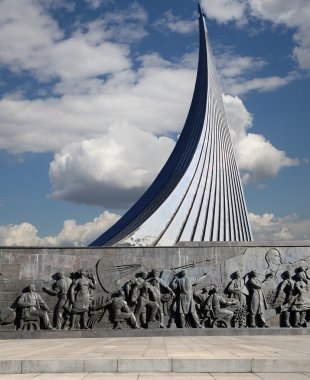 Conquerors of Space Monument in the park outdoors of Cosmonautics museum, Moscow, Russia