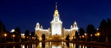 Lomonosov Moscow State University (at night), main building, Russia