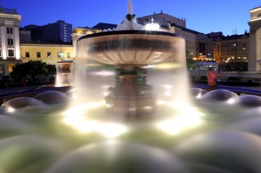 Fountain near the Bolshoi Theatre (Large, Great or Grand Theatre, also spelled Bolshoy) at night, Moscow, Russia