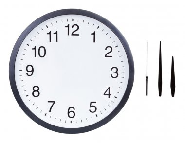 Blank clock face with hour, minute and second hands