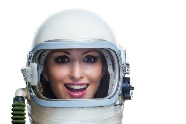 Woman in space helmet