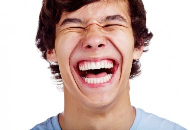 Close up portrait of loudly laughing young man isolated on white background stock vector