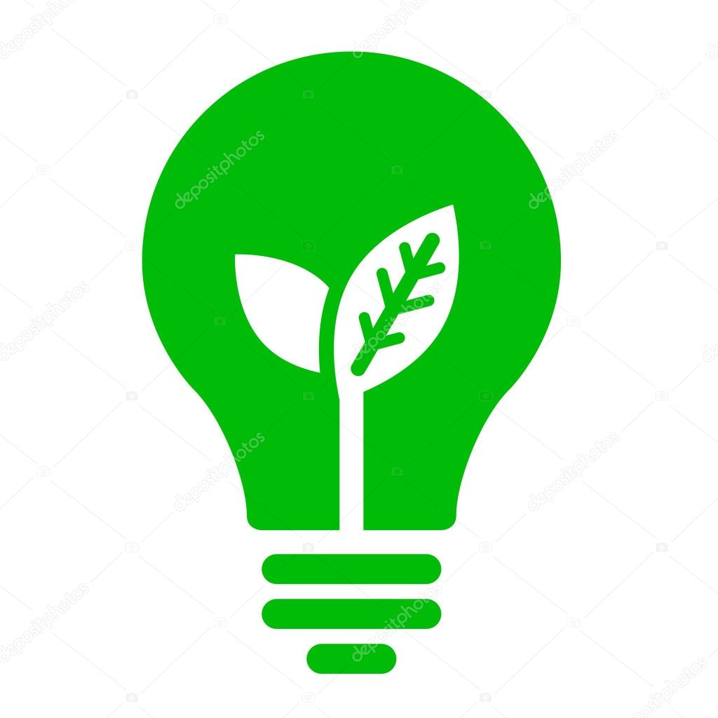 Green Light Bulb With Young Shoots Inside Vector By Furtaev