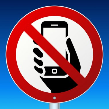 No mobile phones sign on blue