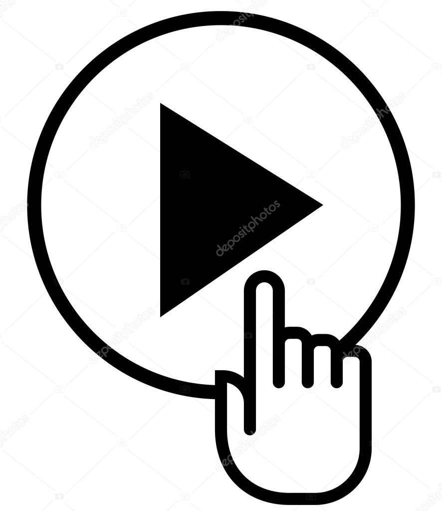 Hand on play icon