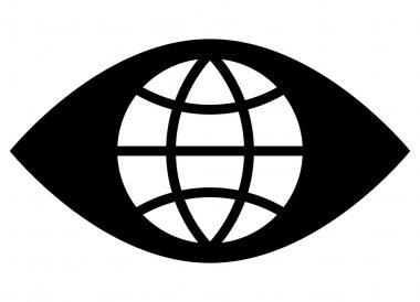 Black vector sign of globe inside eye stock vector